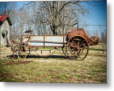 Antique Hay Bailer 3 Metal Print by Douglas Barnett