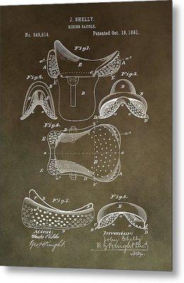 Antique Horse Saddle Patent Metal Print
