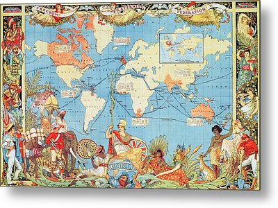 Antique Illustrated Map Of The World Metal Print by Anonymous