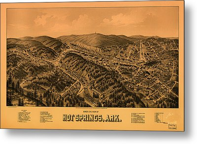 Antique Illustrative Map Of Hot Springs Arkansas 1888 Metal Print by Mountain Dreams