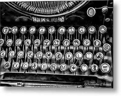 Antique Keyboard - Bw Metal Print by Christopher Holmes