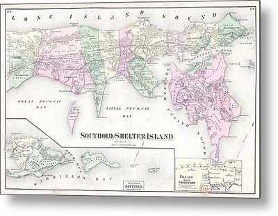 Antique Long Island Map Metal Print by Dan Sproul