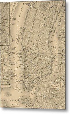 Antique Manhattan Map Metal Print