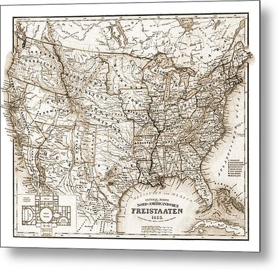 Antique Map 1853 United States Of America Metal Print by Dan Sproul