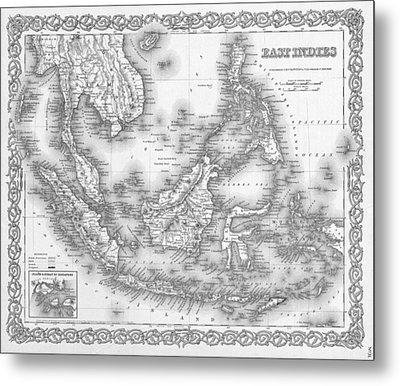 Antique Map 1855 East Indies Metal Print