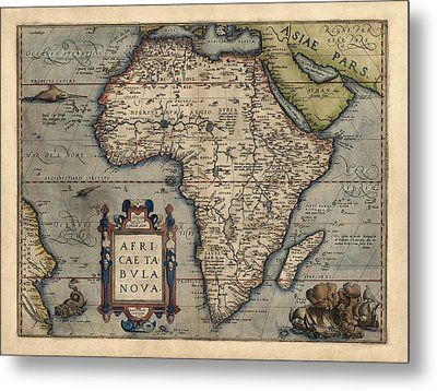 Antique Map Of Africa By Abraham Ortelius - 1570 Metal Print by Blue Monocle