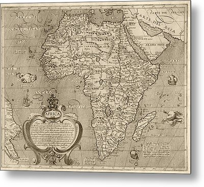 Antique Map Of Africa By Arnoldo Di Arnoldi - Circa 1600 Metal Print by Blue Monocle