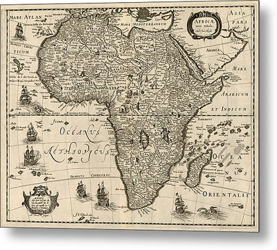 Antique Map Of Africa By Jodocus Hondius - Circa 1640 Metal Print by Blue Monocle