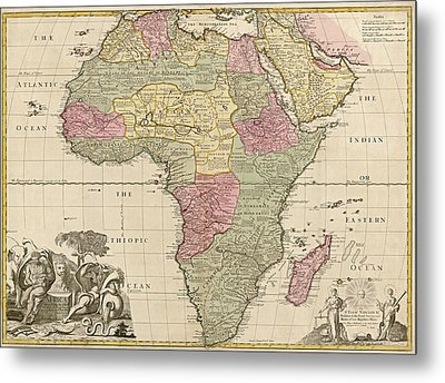 Antique Map Of Africa By John Senex - Circa 1725 Metal Print by Blue Monocle
