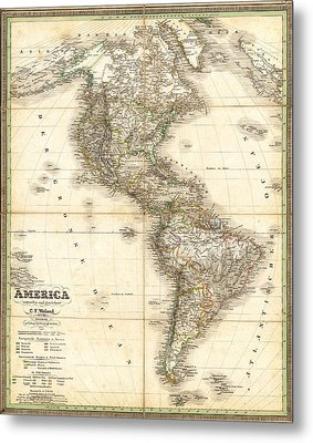 Antique Map Of Americas Metal Print by Celestial Images