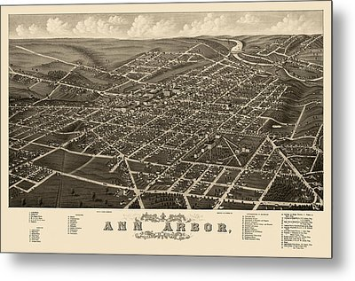 Antique Map Of Ann Arbor Michigan By A. Ruger - 1880 Metal Print
