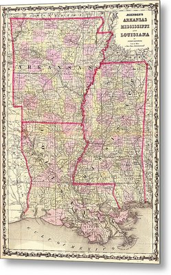 Antique Map Of Arkansas Mississippi And Louisiana Metal Print by Mountain Dreams