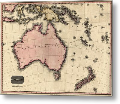 Antique Map Of Australia And The Pacific Islands By John Pinkerton - 1818 Metal Print