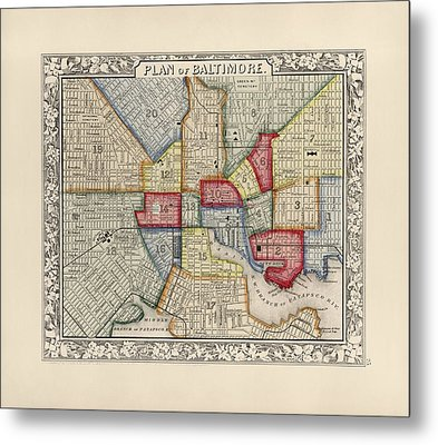 Antique Map Of Baltimore Maryland By Samuel Augustus Mitchell - 1863 Metal Print by Blue Monocle