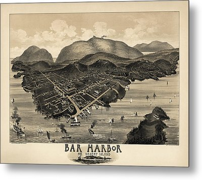 Antique Map Of Bar Harbor Maine By G. W. Morris - 1886 Metal Print by Blue Monocle