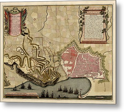 Antique Map Of Barcelona Spain By Anna Beeck - Circa 1706 Metal Print