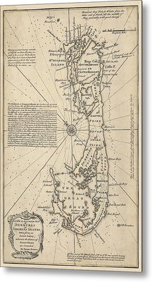 Metal Print featuring the drawing Antique Map Of Bermuda By Emanuel Bowen - 1750 by Blue Monocle