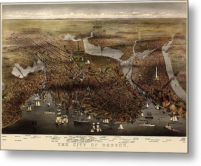 Antique Map Of Boston By Currier And Ives - 1873 Metal Print