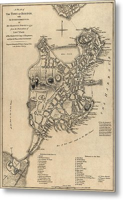 Antique Map Of Boston By William Faden - 1777 Metal Print