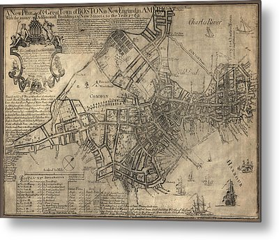 Antique Map Of Boston By William Price - 1769 Metal Print by Blue Monocle