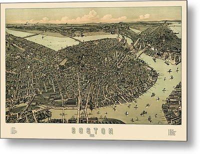 Antique Map Of Boston Massachusetts By A.e. Downs - Circa 1899 Metal Print