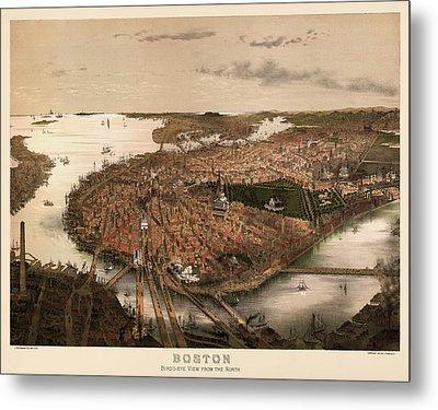 Antique Map Of Boston Massachusetts By John Bachmann - Circa 1877 Metal Print