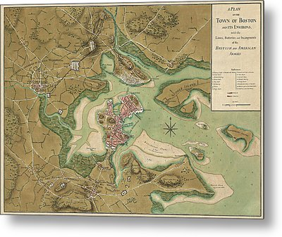 Antique Map Of Boston Massachusetts By Thomas Hyde Page - 1776 Metal Print