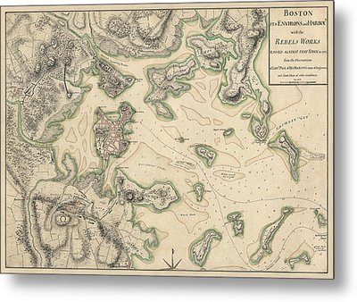 Antique Map Of Boston Massachusetts By Thomas Hyde Page - Circa 1775 Metal Print by Blue Monocle