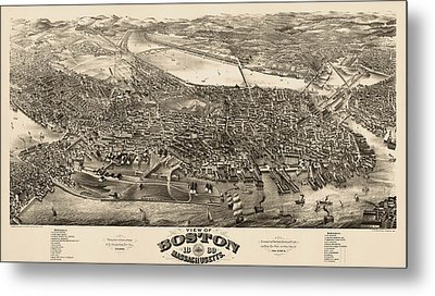 Antique Map Of Boston Masschusetts By H.h. Rowley And Co. - 1880 Metal Print