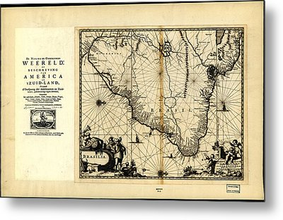 Antique Map Of Brazil 1671 Metal Print by Celestial Images