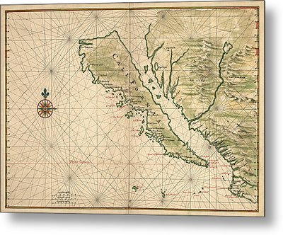 Antique Map Of California As An Island By Joan Vinckeboons - 1650 Metal Print by Blue Monocle