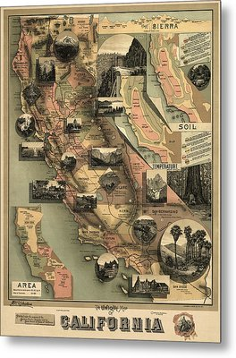 Antique Map Of California By E. Mcd. Johnstone - 1888 Metal Print by Blue Monocle