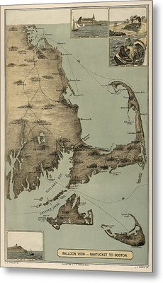 Antique Map Of Cape Cod Massachusetts By J. H. Wheeler - 1885 Metal Print by Blue Monocle