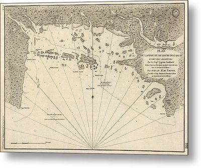 Antique Map Of Casco Bay And Portland Maine By Cyprian Southack - 1779 Metal Print by Blue Monocle