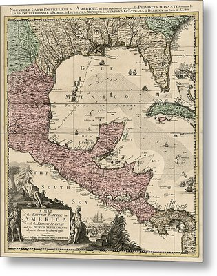 Antique Map Of Central America By Henry Popple - Circa 1733 Metal Print by Blue Monocle