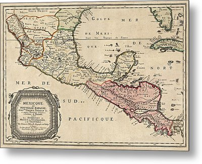 Antique Map Of Central America By Nicolas Sanson - 1656 Metal Print by Blue Monocle