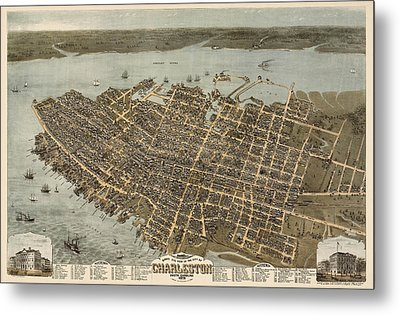 Antique Map Of Charleston South Carolina By C. N. Drie - 1872 Metal Print by Blue Monocle