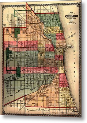 Antique Map Of Chicago 1875 Metal Print