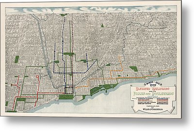 Antique Map Of Chicago By Willis J. Champion - 1908 Metal Print