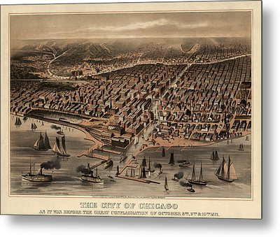 Antique Map Of Chicago Illinois As It Appeared In 1871 Before The Fire Metal Print