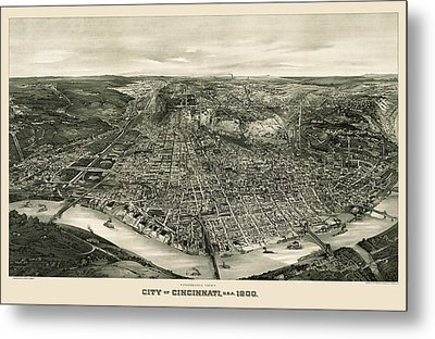 Antique Map Of Cincinnati Ohio By John L. Trout - 1900 Metal Print