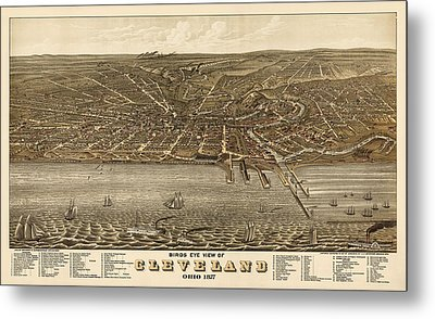 Antique Map Of Cleveland Ohio By A. Ruger - 1877 Metal Print