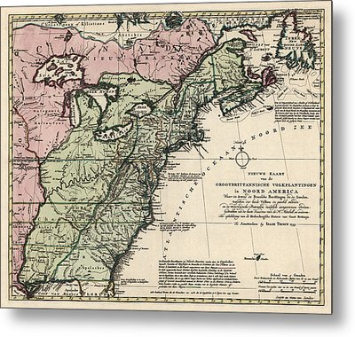 Antique Map Of Colonial America By Isaak Tirion - 1755 Metal Print by Blue Monocle