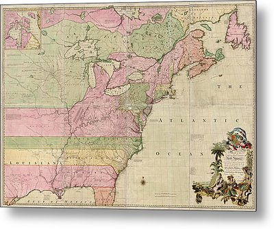 Antique Map Of Colonial America By John Mitchell - 1755 Metal Print by Blue Monocle