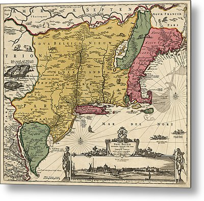Antique Map Of Colonial America By Nicolaes Visscher - 1685 Metal Print by Blue Monocle