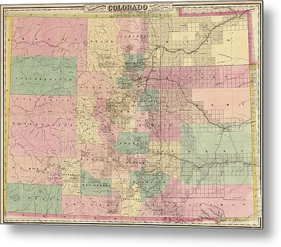 Metal Print featuring the drawing Antique Map Of Colorado By G.w. And C.b. Colton And Co. - 1878 by Blue Monocle
