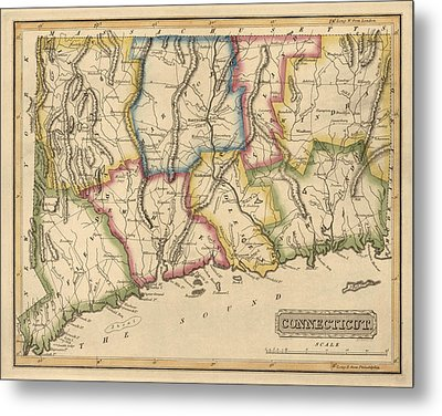 Antique Map Of Connecticut By Fielding Lucas - Circa 1817 Metal Print by Blue Monocle