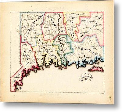 Antique Map Of Connecticut  Metal Print
