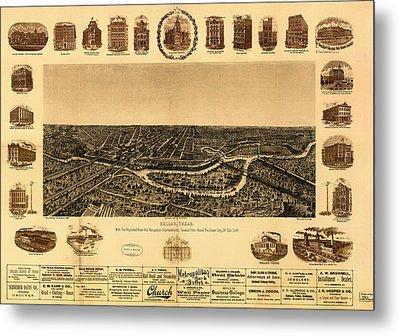 Antique Map Of Dallas 1892 Metal Print by Mountain Dreams