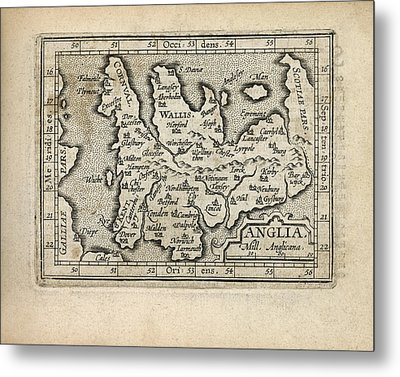 Antique Map Of England And Wales By Abraham Ortelius - 1603 Metal Print by Blue Monocle